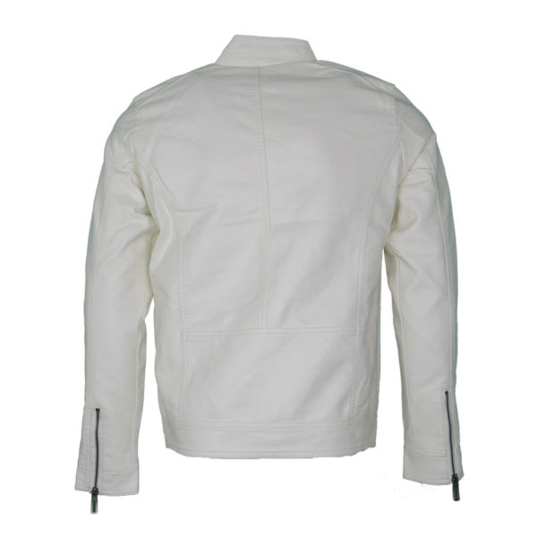 Privato 602 Ανδρικό Μπουφάν Δερματίνη Λευκό 4