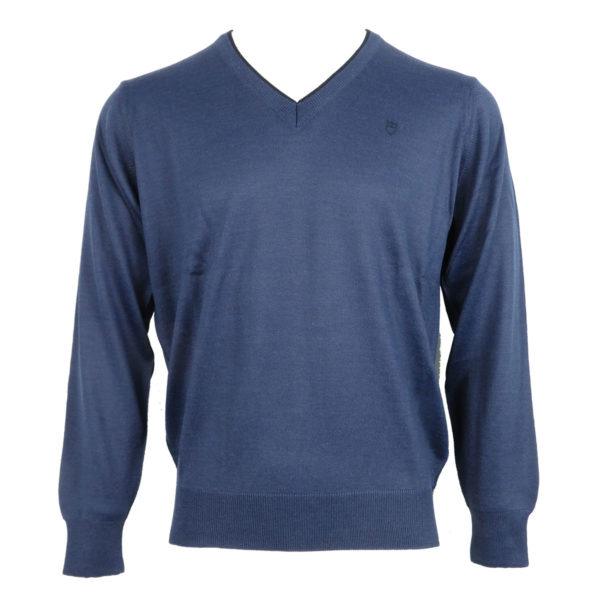 UNIQUE 230 490 Ανδρική Μπλούζα με Βέ Μπλέ-Ράφ 3