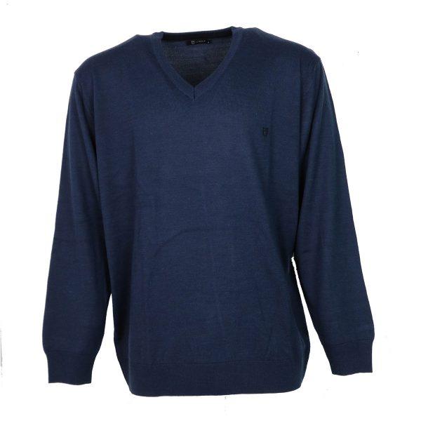 UNIQUE 230 490 Ανδρική Μπλούζα με Βέ Μπλέ-Ράφ 4