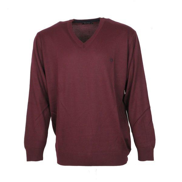 Unique 230 490 Ανδρική Μπλούζα  Με Βε Μπορντό 3