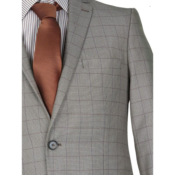 Caballeros 163 Ανδρικό Κοστούμι Μπεζ Σκούρο 7