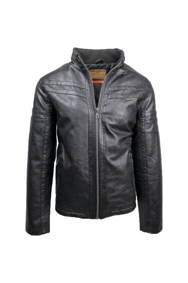 Inox Jackets 19692 Ανδρικό Μπουφάν Μαύρο Eco Leather 3