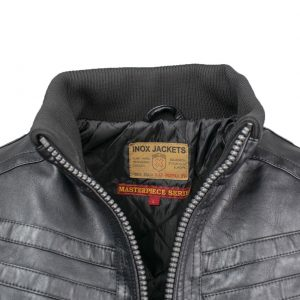 Inox Jackets 19692 Ανδρικό Μπουφάν Μαύρο Eco Leather 5