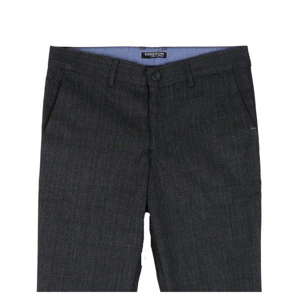 ENDESON 645 Ανδρικό Παντελόνι Καρώ Μαύρο 4