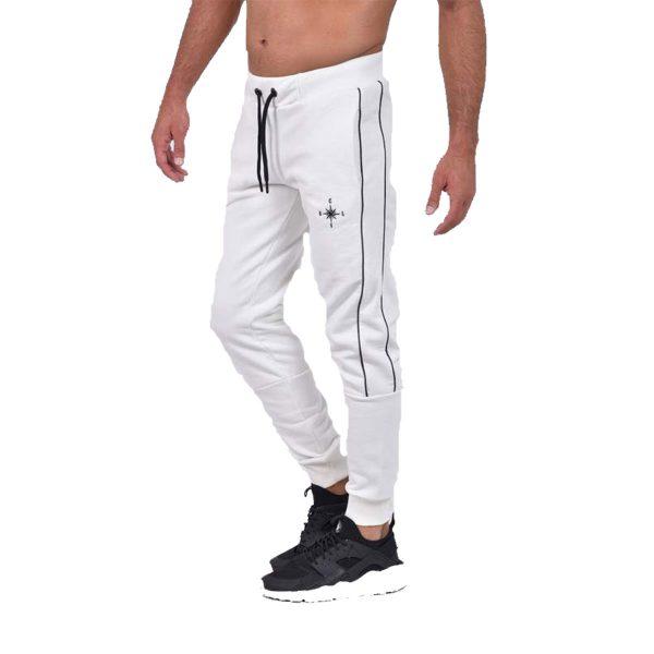 Clever CF-20420 Ανδρικό Παντελόνι Φόρμας Φούτερ Λευκό 5