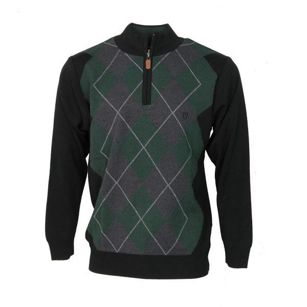Unique 900 Ανδρική Πλεκτή Μπλούζα Με Φερμουάρ Μαύρο 3
