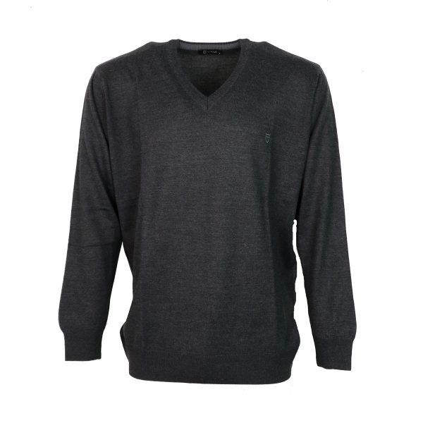 UNIQUE 230 490 Ανδρική Μπλούζα Πλεκτή με Βέ Γκρί Σκούρο 3