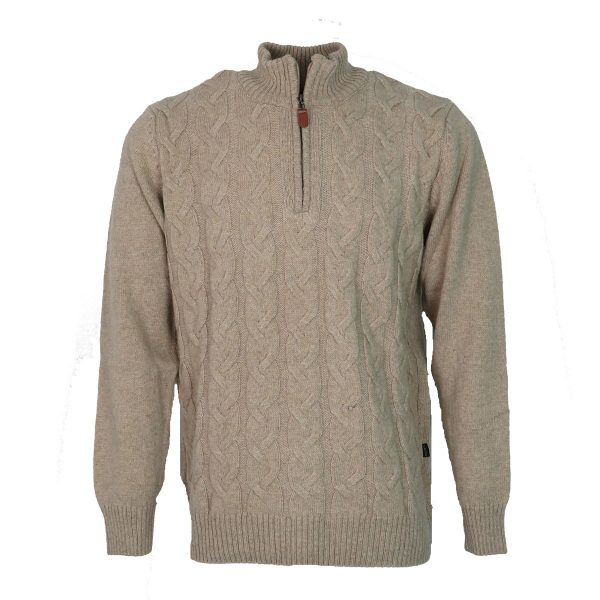 Machete 5925 Ανδρική Πλεκτή Μπλούζα με Φερμουάρ Mπέζ 3
