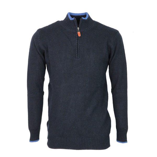 Machete 5428  Ανδρική Πλεκτή Μπλούζα Με Φερμουάρ Μπλέ 3