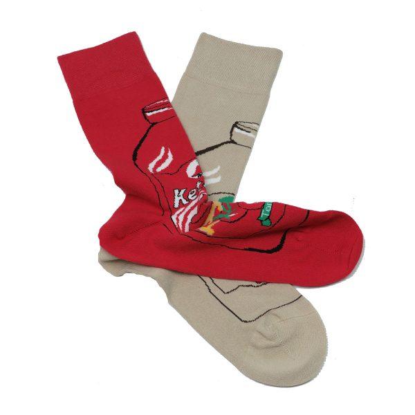 Privato K10 Ανδρική Κάλτσα Κόκκινο- Μπέζ 3