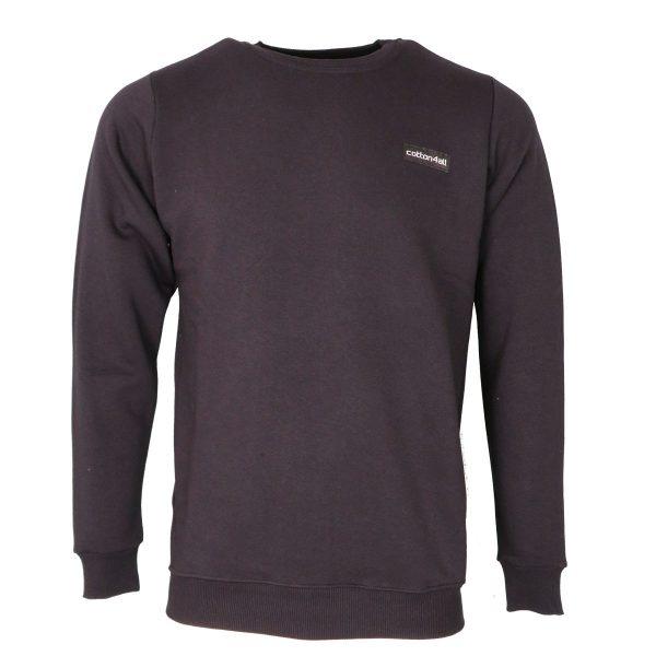 Cotton 4all 21-130 Ανδρική Μπλούζα Φούτερ Μαύρο 3