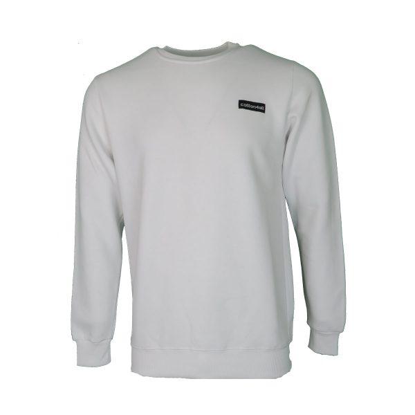 Cotton 4all 21-130 Ανδρικό Μπλουζάκι Φούτερ Λευκό 3