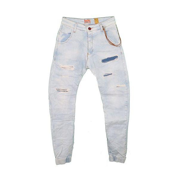 Back 2 Jeans M18 Ανδρικό Τζιν Με Λάστιχο Σιέλ 3