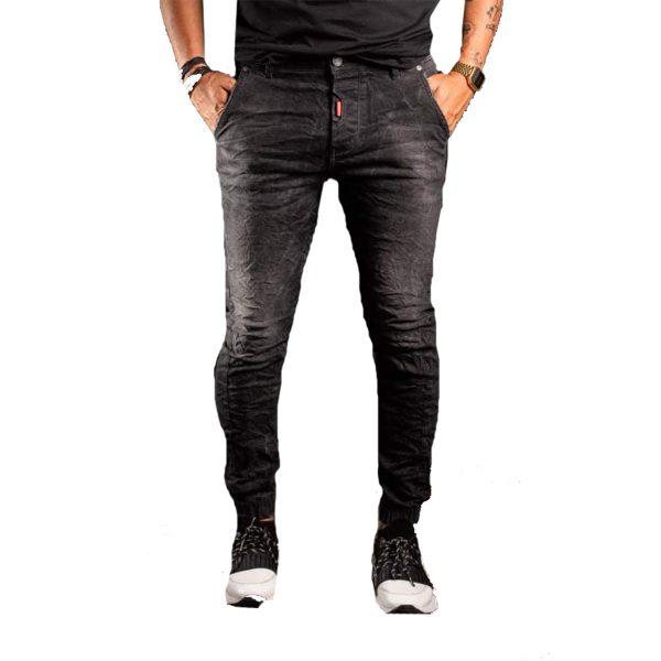 Profil 3006 Ανδρικό Παντελόνι Τζίν με Λάστιχο Μαύρο 3