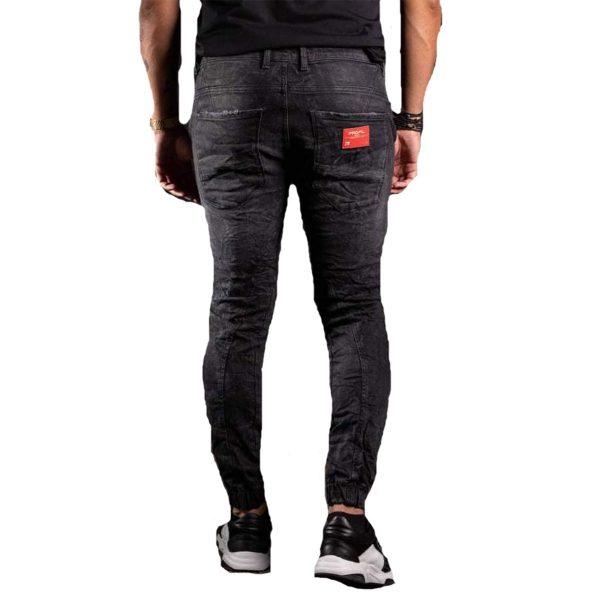 Profil 3006 Ανδρικό Παντελόνι Τζίν με Λάστιχο Μαύρο 4