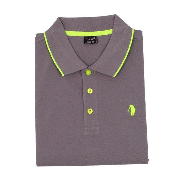 P/CLUB P2800 COL 460 Ανδρική Μπλούζα Με Γιακά Γκρί 4