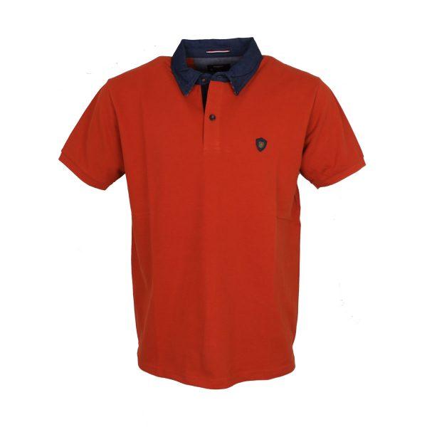 Everbest 212-831-0 Ανδρικό Μπλουζάκι Με Γιακά Σκούρο Πορτοκαλί 3
