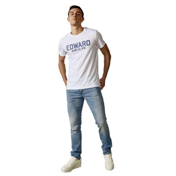 EDWARD MP-N-TOP-S21-008 Ανδρικό Μπλουζάκι Λευκό 3