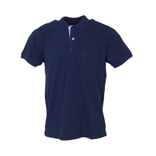 Unique 401KMP Ανδρική Μπλούζα με Γιακά Και Τσέπη Μπλέ 3
