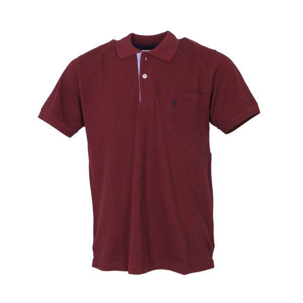 UNIQUE 401KMP Ανδρική μπλούζα με Τσέπη Και Γιακά Μπορντό 3