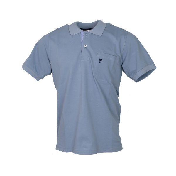 Unique 401 KMP Ανδρική Μπλούζα Με Γιακά Και Τσέπη Σιέλ 3