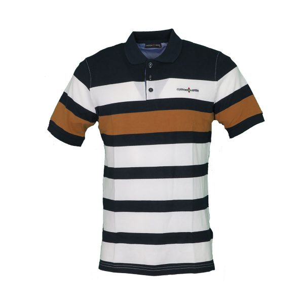 COTTON GREEN 8046 Ανδρική Μπλούζα Με Γιακά Ριγέ Μπλέ 3