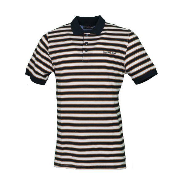 COTTON GREEN 8062 Ανδρική Μπλούζα Ριγέ Με Γιακά Μπλέ 3
