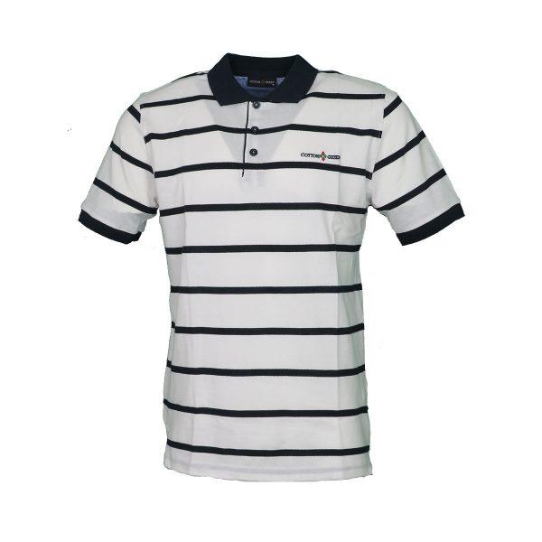 COTTON GREEN 8063 Ανδρική Μπλούζα Ριγέ Με Γιακά Λευκό 3