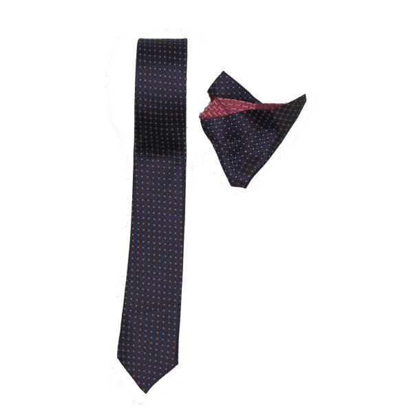 Endeson 01 Ανδρική Γραβάτα Με Μαντήλι Μπλέ 3