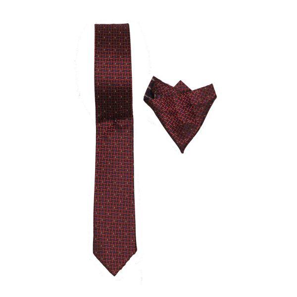 Endeson 011 Ανδρική Γραβάτα με Μαντήλι Μπορντό 3