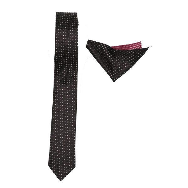 Endeson 012 Ανδρική Γραβάτα Με μαντήλι Μαύρο 3