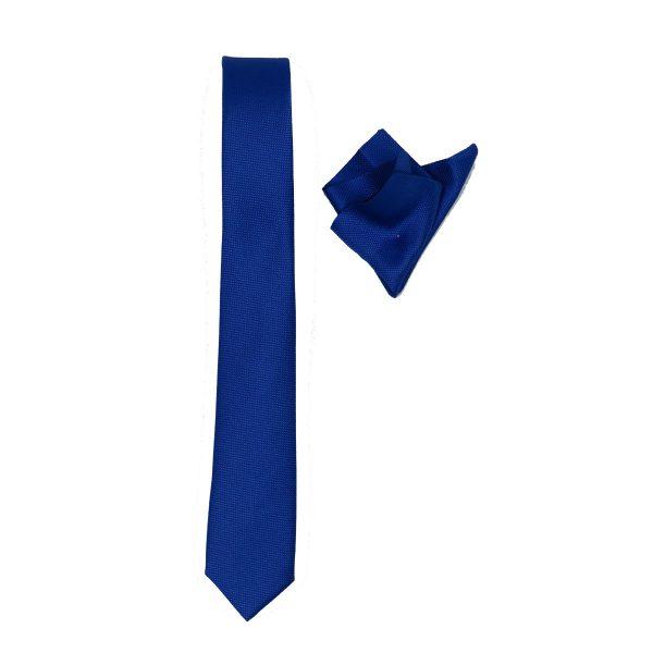 Endeson 03 Ανδρική Γραβάτα Με Μαντήλι Μπλέ Ρουά 3
