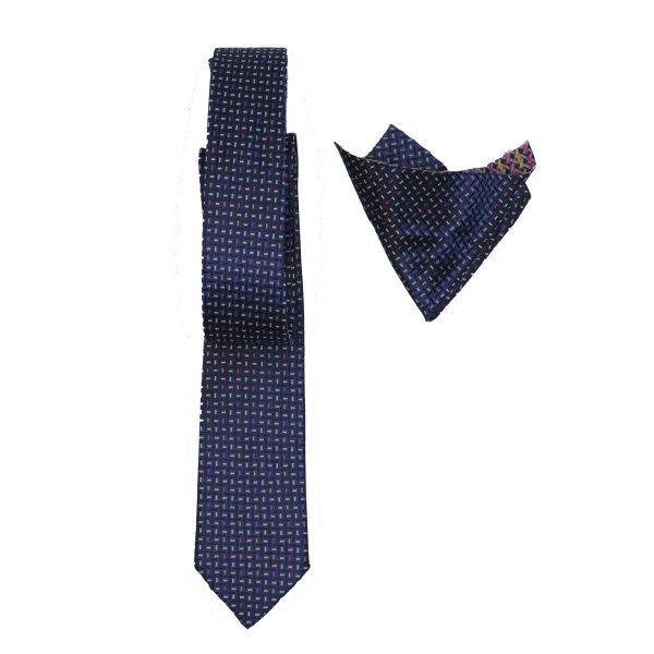 Endeson 04 Ανδρική Γραβάτα Με Μαντήλι Μπλέ 3