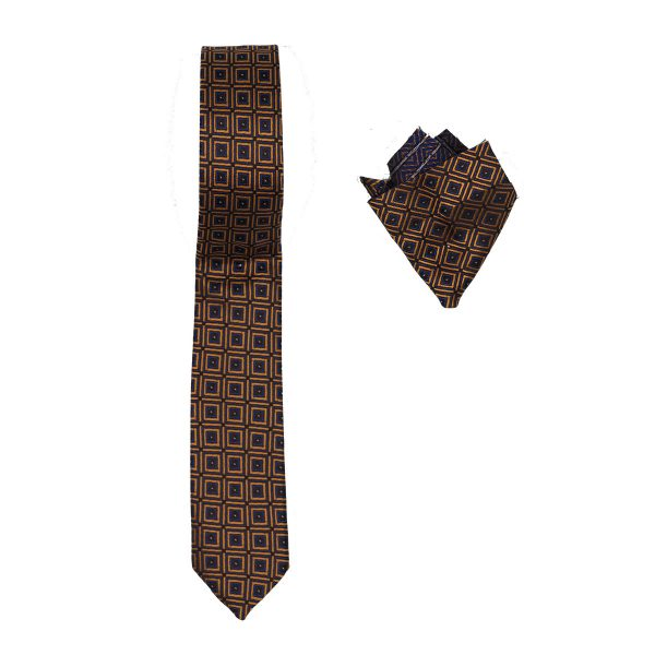 Endeson 05 Ανδρική Γραβάτα με Μαντήλι Κάμελ 3