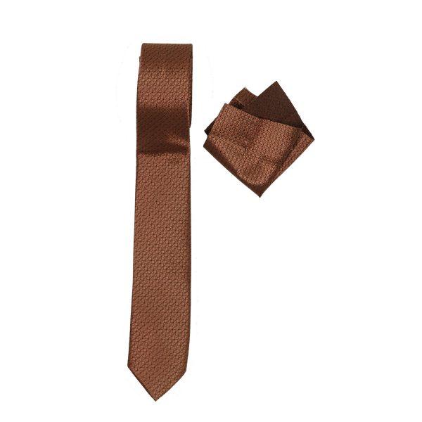 Endeson 08 Ανδρική Γραβάτα Με Μαντήλι Κάμελ 3
