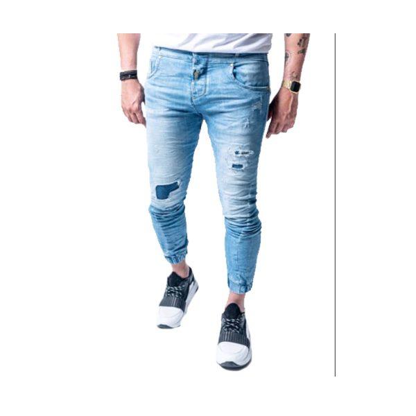 Profil 2015 Ανδρικό Παντελόνι Τζίν Με Λάστιχο Και Φθορές Μπλέ 3
