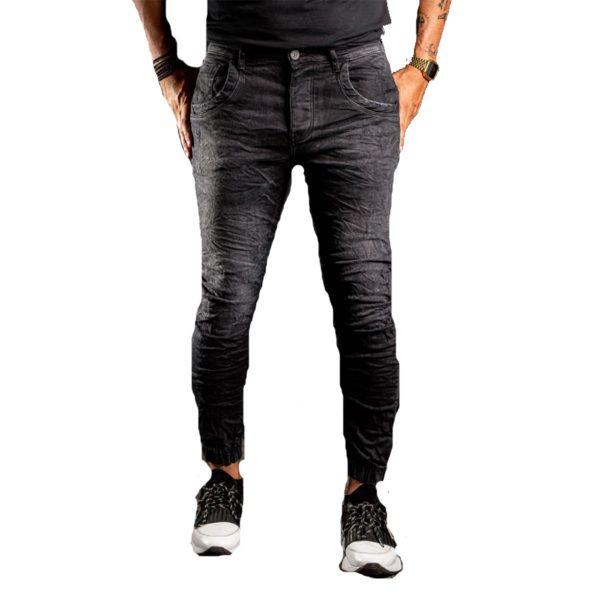 Profil 3004 Ανδρικό παντελόνι Τζίν Με Λάστιχο Και Φθορές Μαύρο 3
