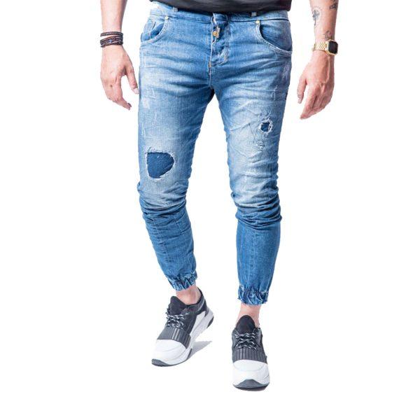 Profil 3015 Ανδρικό παντελόνι Τζίν Με λάστιχο Και Φθορές Μπλέ 3