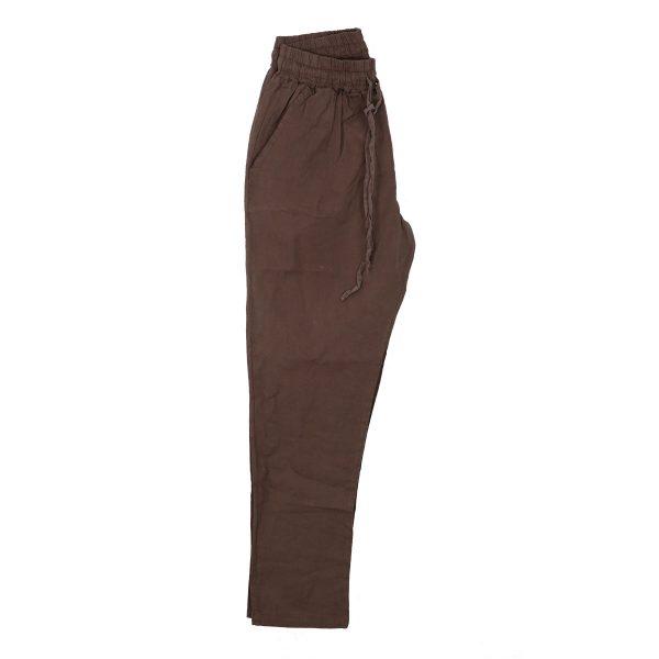 Privato 6068-D Ανδρική Λινή Παντελόνα Με Λάστιχο Λαδί 4
