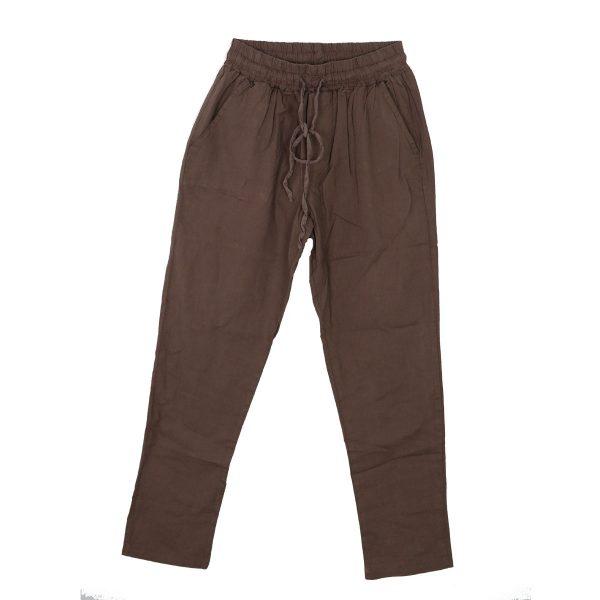 Privato 6068-D Ανδρική Λινή Παντελόνα Με Λάστιχο Λαδί 3