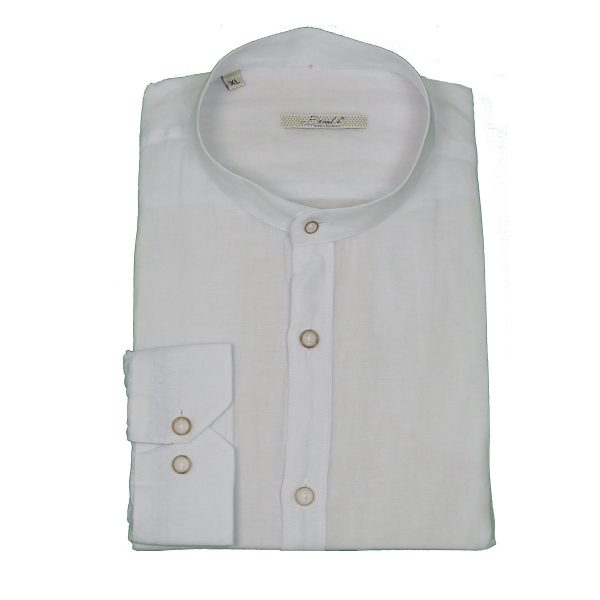 BRANDS K1503 Ανδρικό Πουκάμισο Λινό Με Μάο Γιακά Λευκό 4