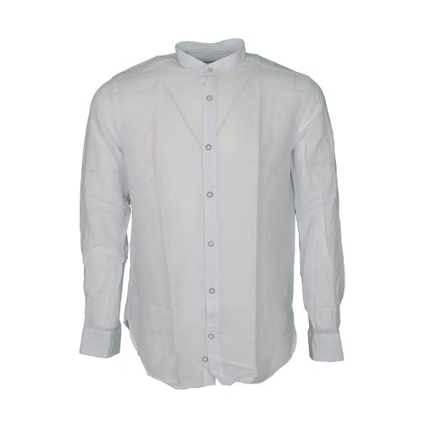 BRANDS K1503 Ανδρικό Πουκάμισο Λινό Με Μάο Γιακά Λευκό 3