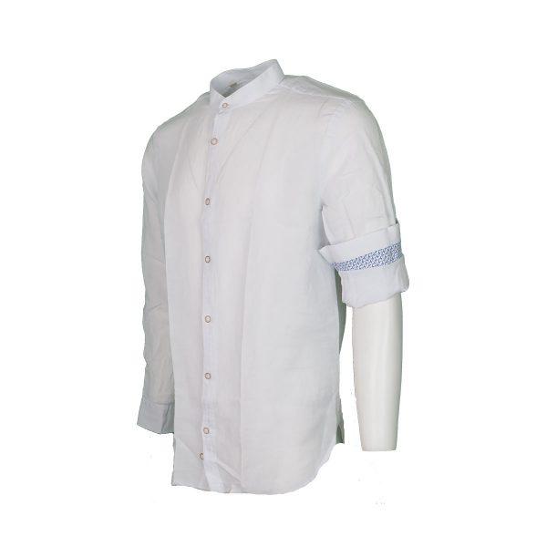 BRANDS K1503 Ανδρικό Πουκάμισο Λινό Με Μάο Γιακά Λευκό 6