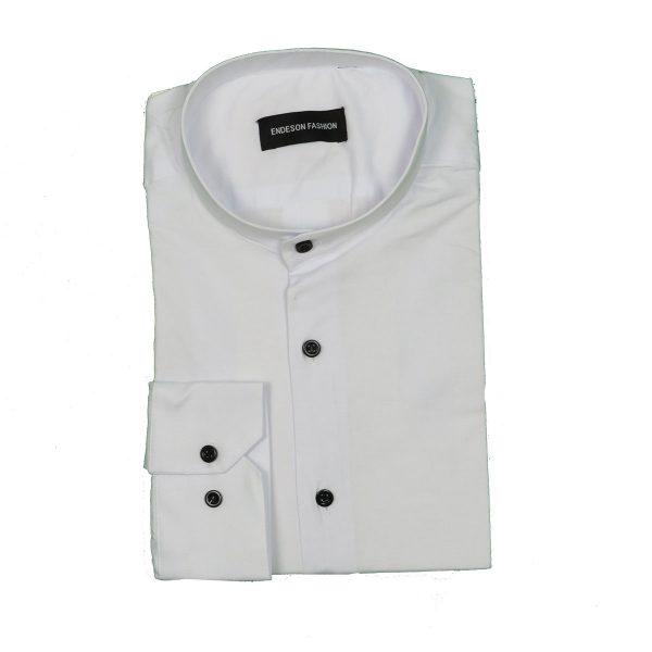 Endeson 1050 Ανδρικό Πουκάμισο Με Μάο Γιακά Λευκό 5