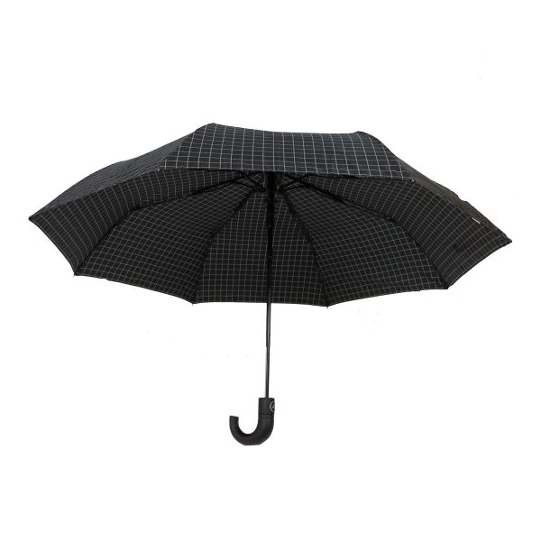PRIVATO OY03-YS2-1 ομπρέλα με αυτόματο άνοιγμα καρώ μαύρη 4