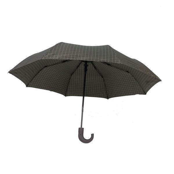 PRIVATO OY03-YS2-1 ομπρέλα με αυτόματο άνοιγμα καρώ γκρι 4