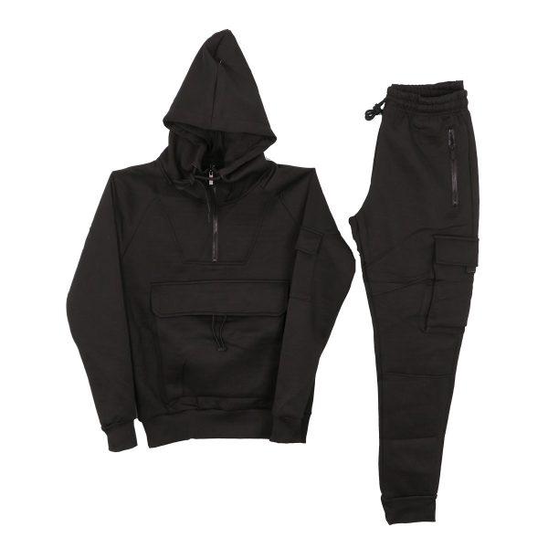 Privato R-033BA Ανδρικό Σέτ Φόρμας Μπλούζα-Παντελόνι Μαύρο 3