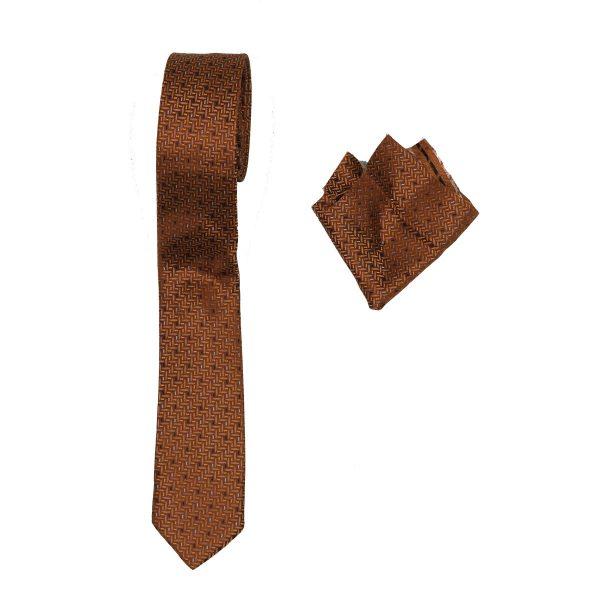 Endeson 021 Ανδρική Γραβάτα με Μαντήλι Κάμελ 3