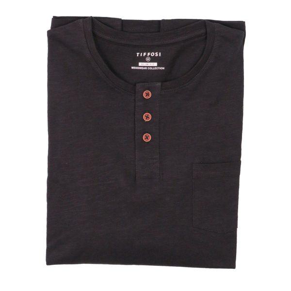 Tiffosi 10004878-000 Ανδρική Μπλούζα Με κουμπιά Μαύρο 4